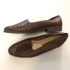 Vintage Shoes - Dark Brown Woven Leather Loafer Flats, Size 9W